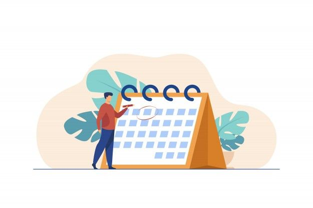 Man circling a calendar date